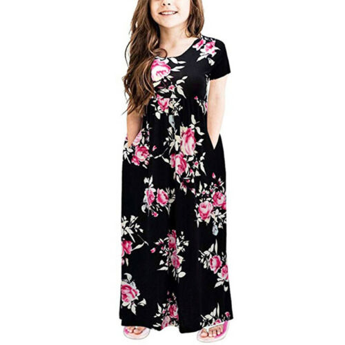 Kids Girls Long Maxi Dress Kaftan Floral Short Sleeve Casual Loose Beach Pockets