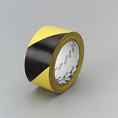 """3M 43181 Safe Way Hazard Warning Tape 766 Black Yellow 2/"""" x 36 yd 5.0 mil"""