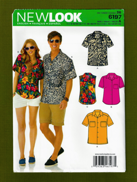 d56ef324a6 Simplicity Creative Patterns LOOK 6197 Misses  and Men s Shirts a ...