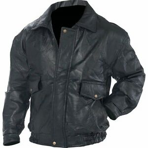 New Mens Black Genuine Leather BOMBER JACKET Flight Coat ...