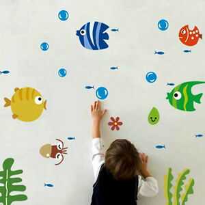 Image Is Loading New Cute Fish Bubble Wall Sticker Kids Room
