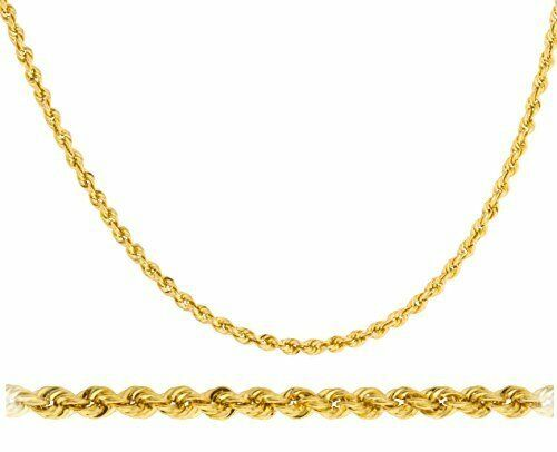 """Real 14k Yellow Gold 2mm Rope Chain Necklace 16/"""" 18/"""" 20/"""" 22/"""" /& 24/"""" Available"""