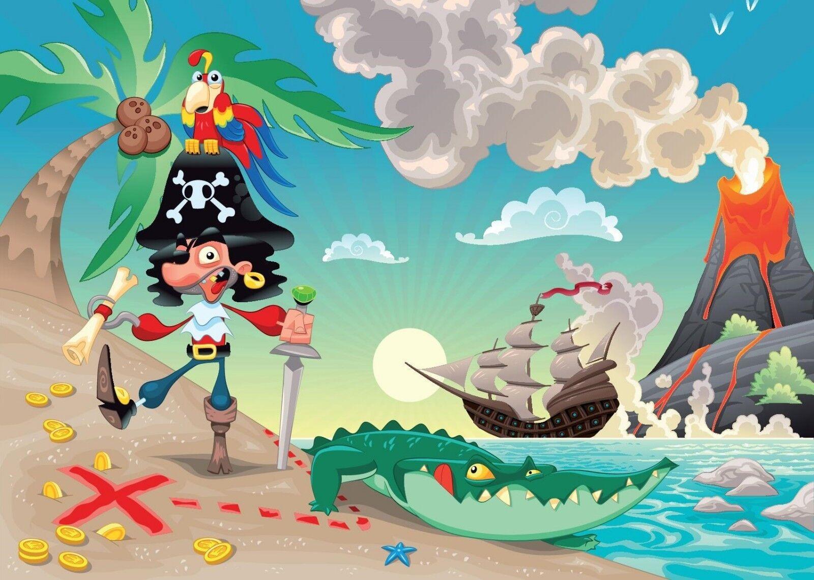 2.3x3.2m Riesiges Wandgemälde Tapete für Kinder Schlafzimmer Piraten Insel