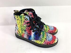 Leather Boots for Women Paint Splash Street Art