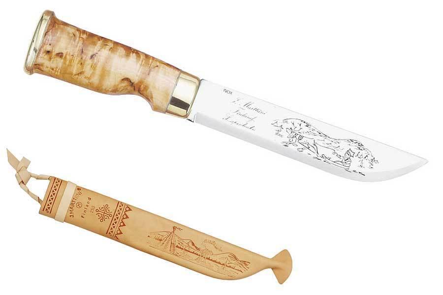 MARTTIINI LapponiaColtello, lama 15 CM, betulla legno, pelle Schelda, 180415