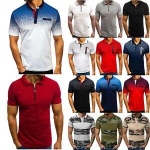 Men-039-s-Slim-Fit-Polo-Shirt-Short-Sleeve-Shirts-Casual-Summer-Golf-T-Shirt-Top-Tee
