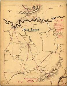 Detalles acerca de Reimpresión A4 de ciudades americanas ciudades Estados  mapa de Tennessee- mostrar título original