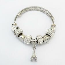 European Charm Crystal Rhinestone Beads Bracelet Stainless Steel Adjustable Whit