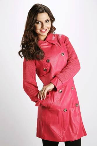 Trendy Knitted Sleeve Faux Leather Trench Hot Pink Coat Size S L UK 8-12 //857