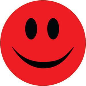 Details About Smiley Face Sticker Red Novelty Humorous Vinyl Sticker 10 Cm X 10 Cm
