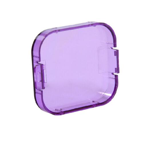 Plástico Purple frente Color Filtro Tapa De Lente Con Capucha Para Gopro Hero 3 4 Cámaras