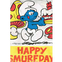 Smurfs Happy Smurfday Paper Table Cover Birthday Party Supplies Vintage Blue