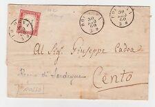 STORIA POSTALE 1860 SARDEGNA C.40 ROSSO BOLOGNA 30/8 Z/5816