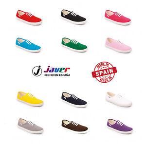 Zapatillas-Lona-Cordones-para-Mujer-Javer-Plimsoll-Shoe-Plimsole-Pumps-Espana