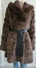 RRP@£1400 - JESSIMARA brown rabbit fur / fox collar belted coat - M / UK12