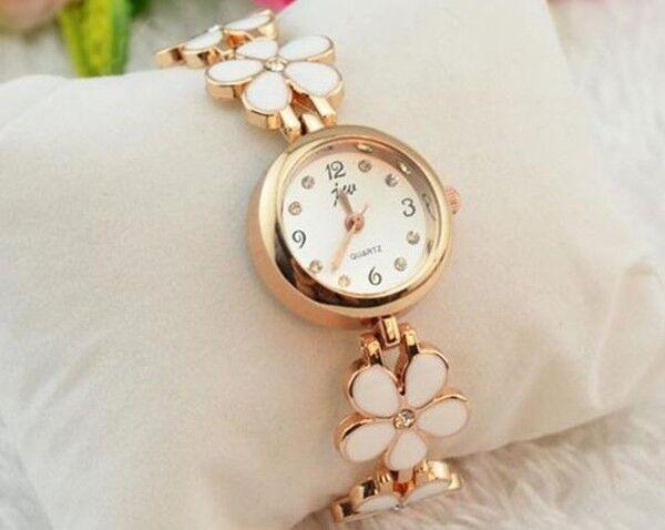 Stylish Fashionable Daisies Flower Rose Gold Bracelet Wrist Watch For Women Girl
