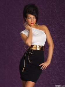 Womens-One-Shoulder-Cocktail-Party-Dress-with-Belt-Evening-Dress-8-10-12-14
