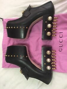 f8e4fc01f5bd Image is loading Gucci-Vegas-Horsebit-Pearl-Spikes-Stud-Black-Leather-