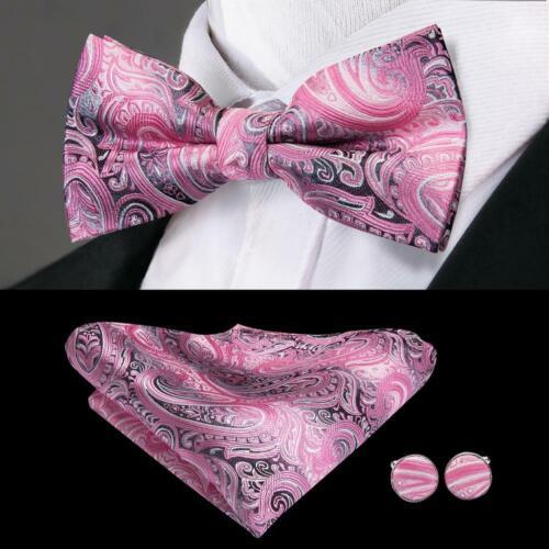 Mens Silk Bow Tie Pre Bowtie Red Blue Black Geometric Floral Striped Wedding TIE
