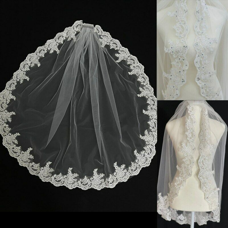 Lace Wedding Veil with Comb 1 Meter White One Layer Short Wedding Bridal Veils