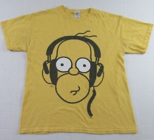 The Simpsons HOMER SIMPSON With Headphones Yellow SS T ...