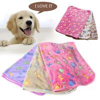 Pet Small Large Warm Paw Print Dog Puppy Cat Pig Fleece Soft Blanket Beds Mat