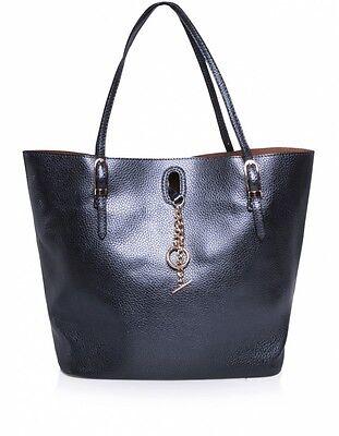Kris Ana Designer Large Ivy Metallic Tote Chain Faux Leather Bag Blue /& Purple