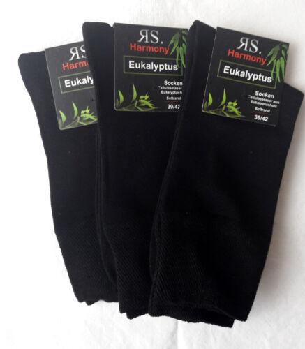 3 Paar Herren Eukalyptus Lyocell Socken antibakteriell ohne Gummi schwarz 39-46