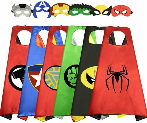 6 Set Superhero Capes with Masks for Kids Dress Up Costumes Cartoon Cosplay