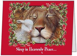 10-5-5X4-Lion-Lamb-PEACE5-5x4-Folded-Christmas-CARDS-amp-Seals