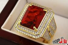 14k Gold Finish .925 Silver Simulated Red Ruby Mens Ring Size 10 Iced Out HipHop
