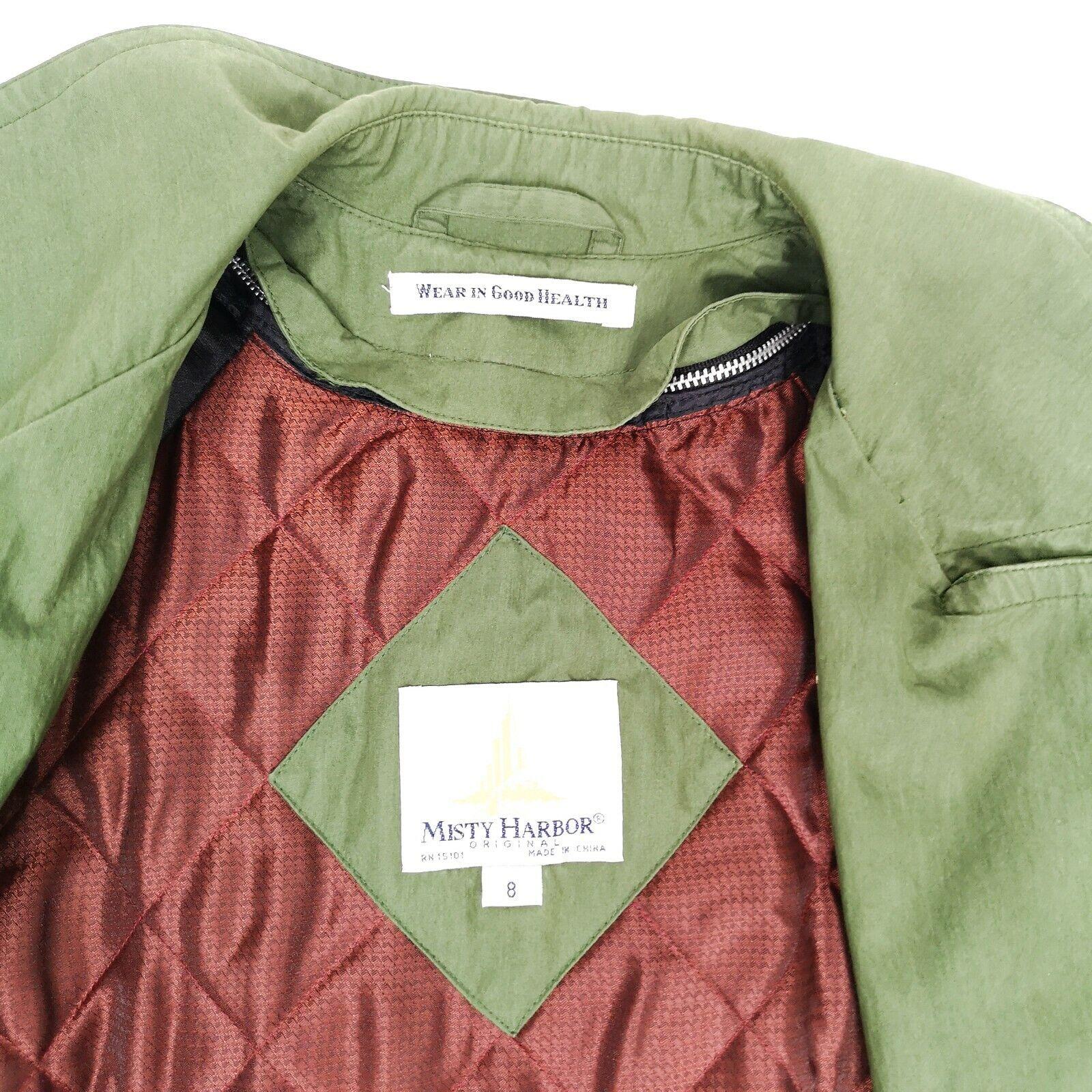 MISTY HARBOR Trench Coat Jacket 8 Olive Green - image 3