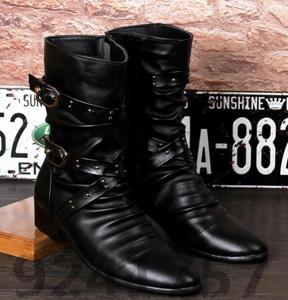 Gr:37-44 High-top Schuhe Stiefel Niet Herren Britischen Stil Herren Niet Winterstiefel 2954e1
