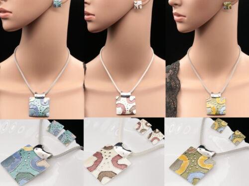 Lady Bijoux Bleu Vert Émail Carré Pendentif Argent plaque collier boucles d/'oreilles N72