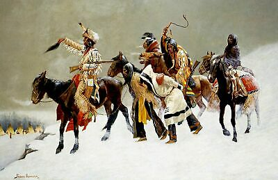 Return of a Blackfoot War Party Indians Repro choose Canvas or Paper