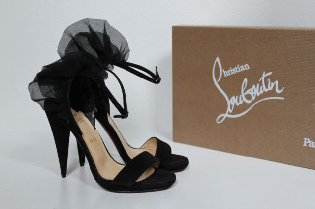 bf26514adf86 New sz 5   35.5 Christian Louboutin Jacqueline Black Suede Open Toe Sandal  Shoes