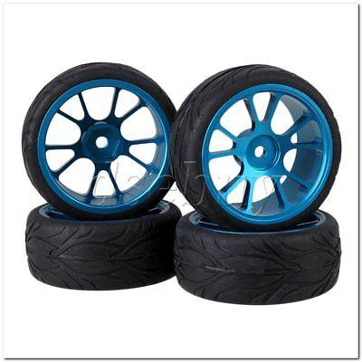 4x Rock Crawler RC1:10 Silver Alloy 5Spoke Wheel Rims /&Simulation Rubber Tire