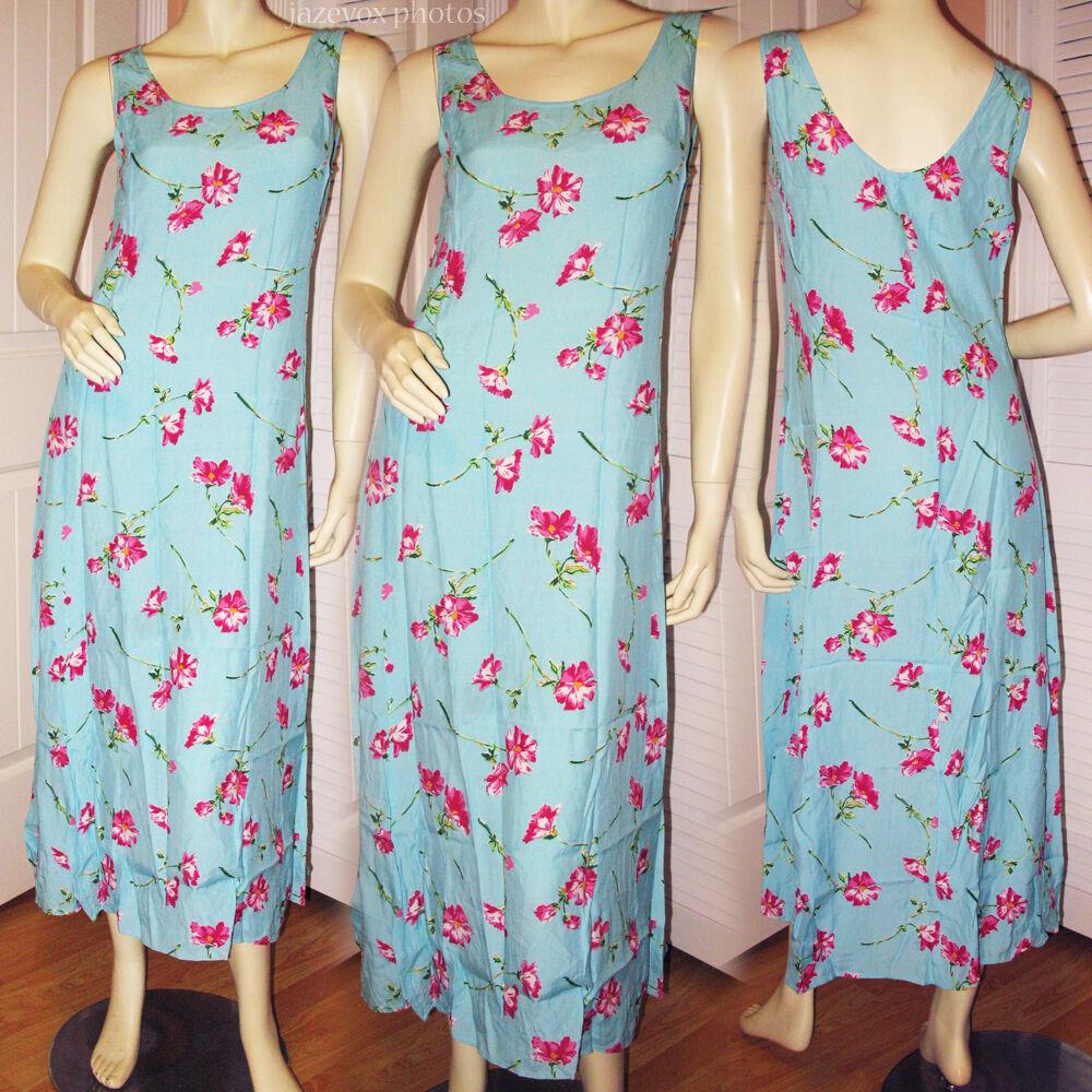 EXPRESS bluee Pink Hawaiian Hawaii Flowers Floral Print Long Maxi Dress Womens 2