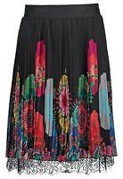 Desigual Hutton Pleated Floral Black Multi Color Skirt Sz Us 2 Eu 36