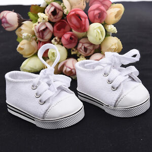 Handmade-Canvas-White-Shoes-for-18-inch-Doll-Cute-Baby-Kids-Toy