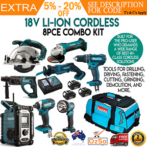 Makita DLX8014 18V 3.0Ah Li-Ion Cordless 8 Piece Combo Tool Kit w/ Carry Bag pcs