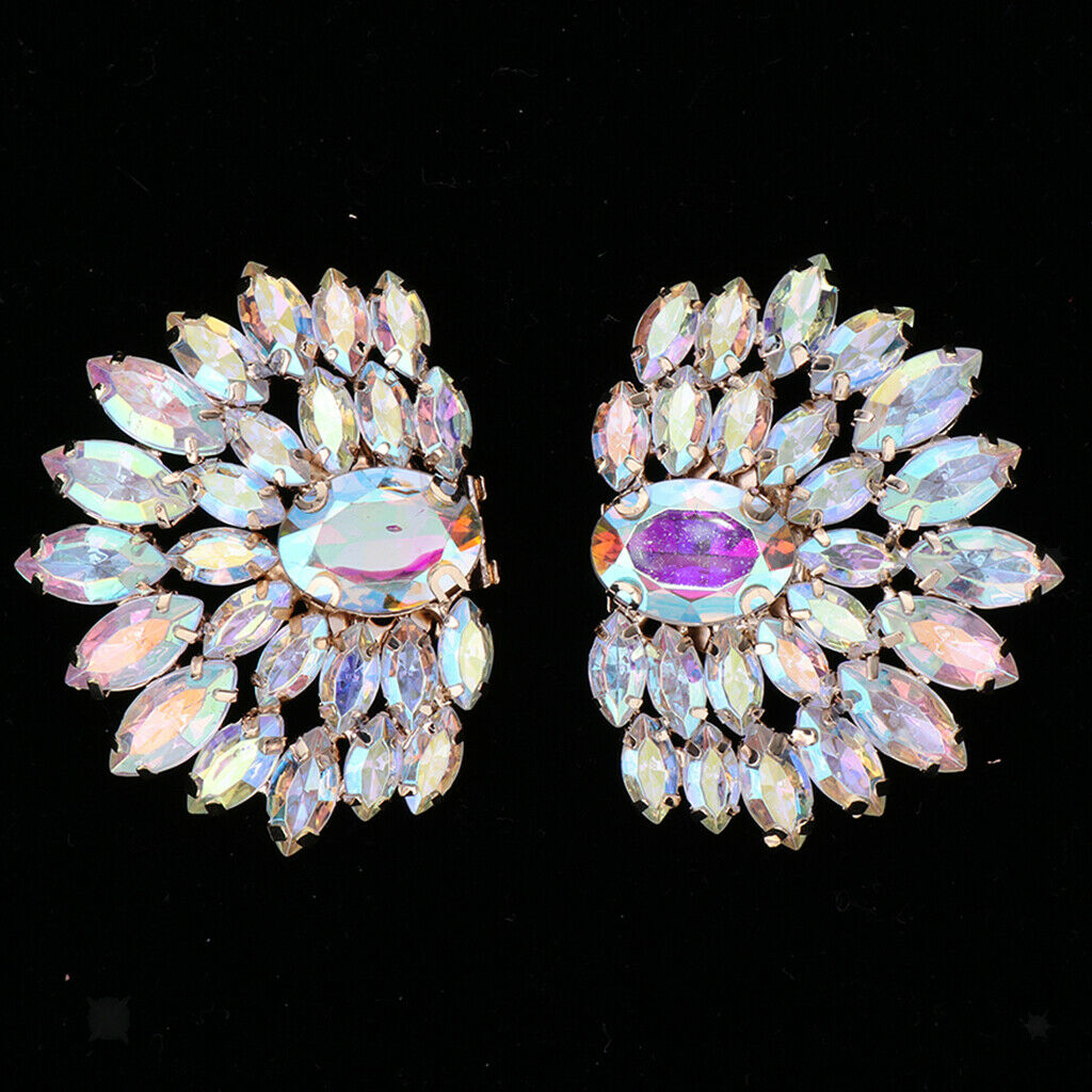 2x Vintage Crystal Rhinestone Wedding Party Prom Shoe Clips Shoe Accessories -