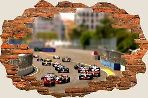 3D-Hole-in-Wall-Formula-1-Race-Carsview-Wall-Stickers-Mural-Art-Wallpaper-287