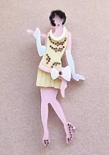 Ab Fab Multi Colour Lucite & Crystal Vintage Flapper Lady Brooch