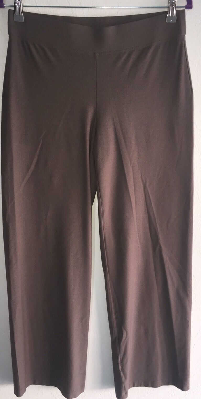 Designer Eileen Fisher Brown Pant Small Pull On Waist S LN Viscose Blend