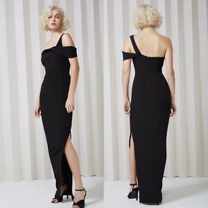 Keepsake Black One Shoulder Design Long Ball Prom Gown Black Tie