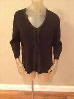 Cato Black Ruffled 3/4 Sleeve Top Womens 18w 20w