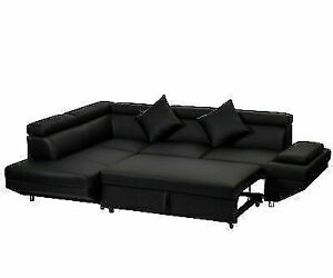 FDW Contemporary Sectional Modern Sofa Bed - Black
