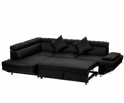 Fdw Contemporary Sectional Modern Sofa Bed Black