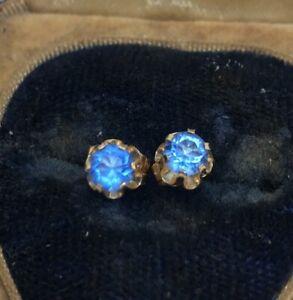 14k-Gold-Estate-Vintage-Earrings-Blue-Sapphire